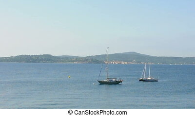 French Riviera views from St. Tropez. Yachts and sailboats
