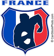 french rugby player France flag - illustration of a french...