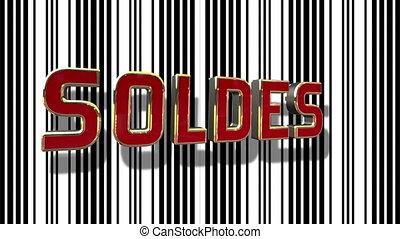 French Sale 3D Looping Animation With Barcode Abstract Line Background