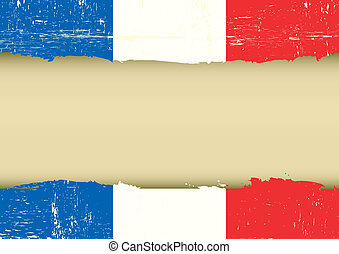 French scratched flag - A french flag with a large frame for...