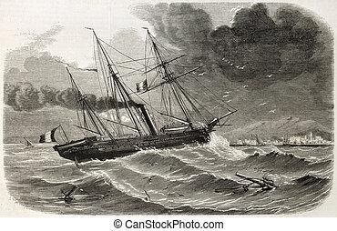 Reine-Hortense - French ship Reine-Hortense transporting ...