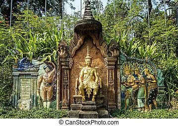 monument at wat phnom landmark temple in Phnom Penh Cambodia