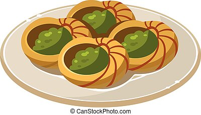 French Snail Dish. Vector Illustration - French Traditional...
