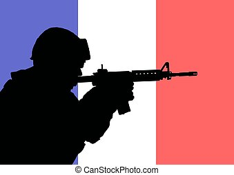 French soldier 2 - Silhouette of a French soldier with the...