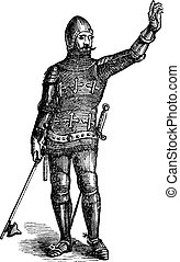 French soldier in armor in 1370, old engraving. Vector,...