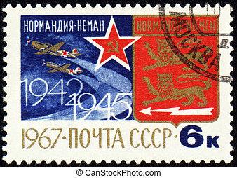 French squadron Normandie-Niemen on post stamp - USSR -...