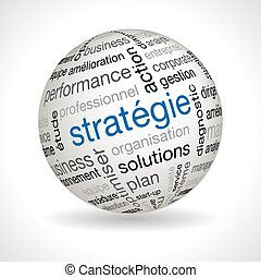 French Strategy theme sphere with keywords full vector