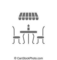 French street cafe grey icon. Isolated on white background
