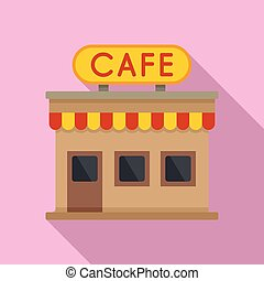 French street cafe icon, flat style