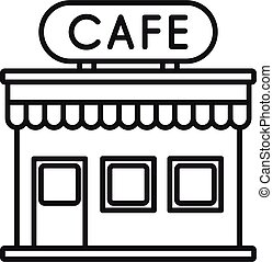 French street cafe icon, outline style