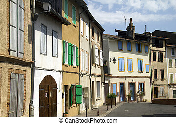 French street - Classic French buildings with shuttered ...