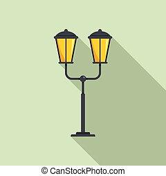 French street light pillar icon, flat style