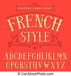 French Style Label Font Poster