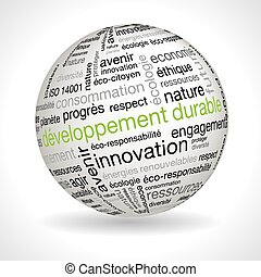 French sustainable development theme sphere with keywords...