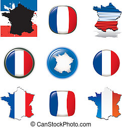 French symbols and icons. Vector co