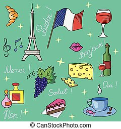 French symbols pattern vector illustration
