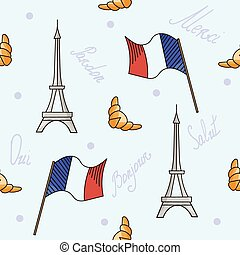 French symbols seamless pattern blue color