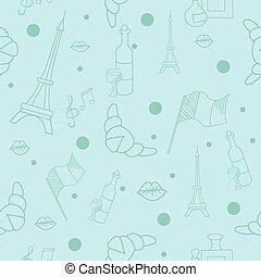 French symbols seamless pattern