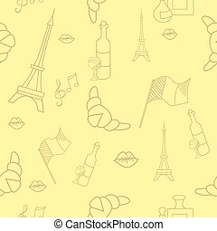 French symbols seamless pattern yellow color