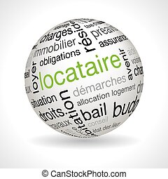 French tenant theme sphere with keywords full vector