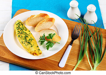 French tender omelete on white plate