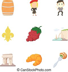 French things icons set, cartoon style