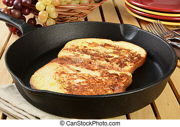 French toasst in a cast iron skillet