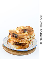 French toast bread on eggs isolated over white background