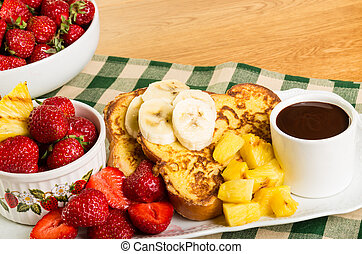 French toast with fruit and coffee