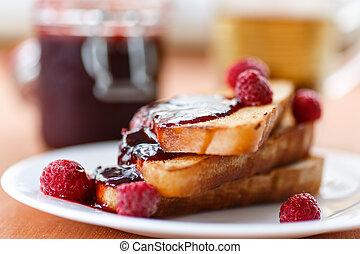 toast with raspberry jam - French toast with raspberry jam...