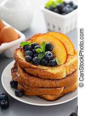French toasts with fresh fruit for breakfast