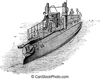 French Torpedo Boat, vintage engraving - French Torpedo...