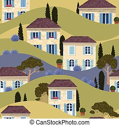 French town seamless pattern