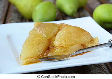 French traditional pie Tarte Tatin with pears