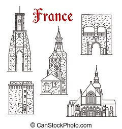 French travel landmark of Dinan and Calais town thin line icon set. Ancient St Sauveur Basilica with Clock and Bell Tower, Jerzual Gate and Watchtower for tourism themes and travel guide design