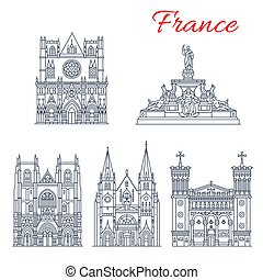 French travel landmark icon of European Churches