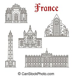 French travel landmark icon of linear architecture
