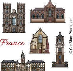 French travel landmark icon of Rennes