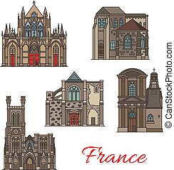French travel landmark icons, Troyes architecture - French...