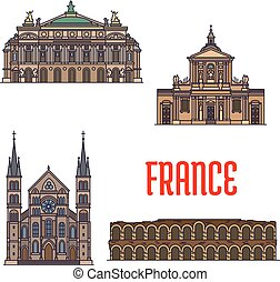 French travel landmarks icon for tourism design