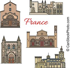 French travel landmarks, thin line vector