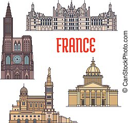 French travel sights icon in thin line style