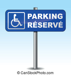 French vector disabled parking sign