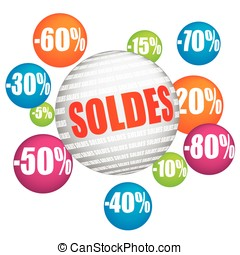 French vector sales and percents illustration