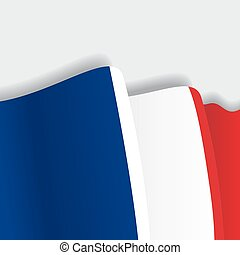 French waving Flag. Vector illustration.