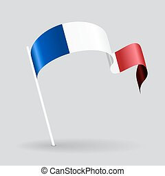 French wavy flag. Vector illustration.