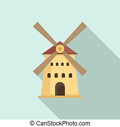 French windmill icon, flat style - French windmill icon. ...