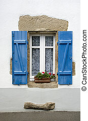 French window - Window of a traditional house in French...