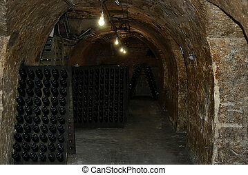 French wine-cellar in Champagne region