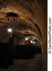 French wine-cellar in Champagne region, France